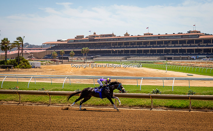 AUG 15: Kentucky Derby hopeful, Honor AP works out at Del Mar Thoroughbred Club with regular jockey Mike Smith aboard, in Del Mar, California on August 15, 2020. Evers/Eclipse Sportswire/CSM