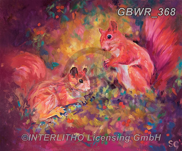 Simon, REALISTIC ANIMALS, REALISTISCHE TIERE, ANIMALES REALISTICOS, innovativ, paintings+++++SueGardner_RedSquirrels,GBWR368,#a#, EVERYDAY