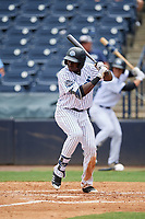 Tampa Tarpons designated hitter Estevan Florial (34) at bat during a game against the Lakeland Flying Tigers on April 8, 2018 at George M. Steinbrenner Field in Tampa, Florida.  Lakeland defeated Tampa 3-1.  (Mike Janes/Four Seam Images)