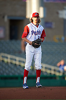 Stockton Ports starting pitcher Zack Erwin (33) checks the runner at first base during a California League game against the Rancho Cucamonga Quakes at Banner Island Ballpark on May 16, 2018 in Stockton, California. Rancho Cucamonga defeated Stockton 6-3. (Zachary Lucy/Four Seam Images)