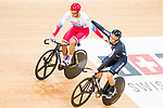 Denis Dmitriev of Russia and Ethan Mitchell of New Zealand compete on the Men's Sprint Semifinals - 2nd Race during the 2017 UCI Track Cycling World Championships on 15 April 2017, in Hong Kong Velodrome, Hong Kong, China. Photo by Marcio Rodrigo Machado / Power Sport Images