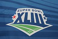 Logo des Super Bowl XLIII<br /> PK der NFL Players Association beim Super Bowl XLIII <br /> *** Local Caption *** Foto ist honorarpflichtig! zzgl. gesetzl. MwSt. Auf Anfrage in hoeherer Qualitaet/Aufloesung. Belegexemplar an: Marc Schueler, Am Ziegelfalltor 4, 64625 Bensheim, Tel. +49 (0) 6251 86 96 134, www.gameday-mediaservices.de. Email: marc.schueler@gameday-mediaservices.de, Bankverbindung: Volksbank Bergstrasse, Kto.: 151297, BLZ: 50960101