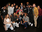 """James Harkness, Derrick Baskin, Jeremy Pope, E. Clayton Cornelious, Jawan M. Jackson and Ephraim Sykes during the Legacy Robe honoring E. Clayton Cornelious for """"Ain't Too Proud"""" at the Imperial Theatre on 3/20/2019 in New York City."""