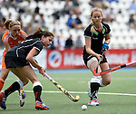 GER - Mannheim, Germany, May 25: During the U16 Girls match between The Netherlands (orange) and Germany (black) during the international witsun tournament on May 25, 2015 at Mannheimer HC in Mannheim, Germany. Final score 1-1 (1-0). (Photo by Dirk Markgraf / www.265-images.com) *** Local caption *** Emma Foerter #7 of Germany, Pia Maertens #16 of Germany