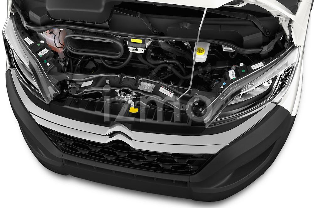 Car Stock 2015 Citroen JUMPER L2H2 5 Door Cargo Van Engine high angle detail view