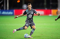 LAKE BUENA VISTA, FL - AUGUST 06: Jan Gregus #8 of Minnesota United FC kicks the ball during a game between Orlando City SC and Minnesota United FC at ESPN Wide World of Sports on August 06, 2020 in Lake Buena Vista, Florida.