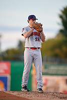 Auburn Doubledays starting pitcher Tyler Dyson (24) during a NY-Penn League game against the Batavia Muckdogs on August 31, 2019 at Dwyer Stadium in Batavia, New York.  Auburn defeated Batavia 12-5.  (Mike Janes/Four Seam Images)