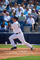 New York Yankees designated hitter Dustin Ackley (29) at bat during a Spring Training game against the Detroit Tigers on March 2, 2016 at George M. Steinbrenner Field in Tampa, Florida.  New York defeated Detroit 10-9.  (Mike Janes/Four Seam Images)