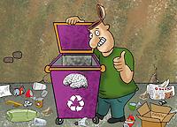 Charges sobre meio ambiente.<br /> Autor Biratan Porto.