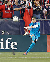 New England Revolution goalkeeper Bobby Shuttleworth (34). Despite a red-card man advantage, in a Major League Soccer (MLS) match, the New England Revolution tied New York Red Bulls, 1-1, at Gillette Stadium on September 22, 2012.