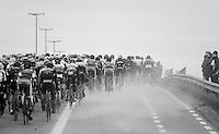 peloton causing a local dust storm<br /> <br /> 72nd Omloop Het Nieuwsblad 2017
