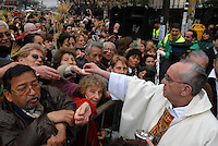 Newly elected Pope Jorge Berboglio , Francis I, file picture.San Cayetano celebration in Liniers district of Buenos Aires, when thousands of pilgrims coming from suburbs honor the Jobs Saint to ask for a job or to pray to keep their jobs