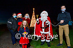 Little Katie O'Flaherty from Ballymac turns on the Christmas tree lights at the Ballygarry House Hotel  Christmas Tree lighting ceremony on Friday, with their special guests the O'Flaherty family from Ballymac. L to r: Thomas, Rose, Karen and Katie O'Flaherty, Santa Clause. Padraig and Carmel McGillicuddy, Aoise Healy,