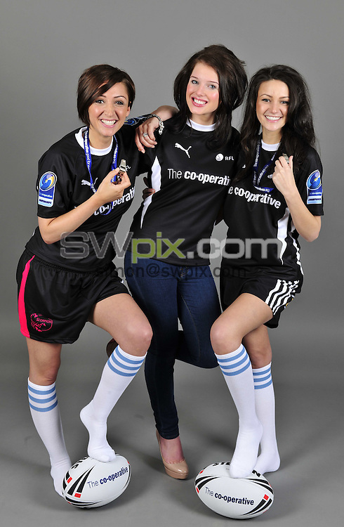 PICTURE BY VAUGHN RIDLEY/SWPIX.COM - Rugby League - The Co-operative Championships Launch 2010 - The View, Manchester, England  - 18/02/10...Copyright - Simon Wilkinson - 07811267706...Coronation Street Stars Michelle Keegan, Helen Flanagan and Lucy-Jo Hudson get kitted up to show their support for rugby league at the launch of The Co-operative Championships at The View, MEN Arena, Manchester.