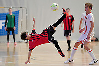 Hamza Alfayad of Selwyn College during the Futsal NZ Secondary Schools Junior Boys Final between Hamilton Boys High School and Selwyn College at ASB Sports Centre, Wellington on 26 March 2021.<br /> Copyright photo: Masanori Udagawa /  www.photosport.nz