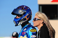 Jul. 24, 2009; Sonoma, CA, USA; NHRA pro stock motorcycle rider Matt Smith (left) with fiance Angie McBride during qualifying for the Fram Autolite Nationals at Infineon Raceway. Mandatory Credit: Mark J. Rebilas-