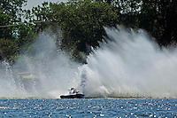 """Frame 2: Kevin Kreitzer, A-64 """"Blue Devil"""" hooks in turn 2 and blows some decking off the boat. (2.5 MOD class hydroplane(s)"""