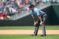 Third base umpire Derek Mollica during the International League game between the Gwinnett Braves and the Charlotte Knights at BB&T BallPark on May 22, 2016 in Charlotte, North Carolina.  The Knights defeated the Braves 9-8 in 11 innings.  (Brian Westerholt/Four Seam Images)