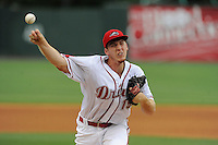 Pitcher Teddy Stankiewicz (19) of the Greenville Drive in a game against the Charleston RiverDogs on Wednesday, June 11, 2014, at Fluor Field at the West End in Greenville, South Carolina. Stankiewicz was a 2nd Round pick of the Boston Red Sox in the 2013 First-Year Player Draft. He is Boston's No. 19 prospect, according to Baseball America. Greenville won, 6-3. (Tom Priddy/Four Seam Images)