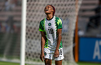 HOUSTON, TX - JUNE 10: Obianujuwan Ikechukwu #17 Nigeria reacts to a missed shot during a game between Nigeria and Jamaica at BBVA Stadium on June 10, 2021 in Houston, Texas.