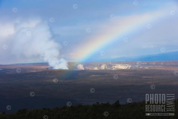 A rainbow highlights the Kilauea Caldera, Halema'uma'u Crater, Hawai'i Volcanoes National Park, Big Island.