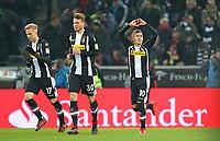 25.11.2017, Football 1. Bundesliga 2017/2018, 13.  match day, Borussia Moenchengladbach - FC Bayern Muenchen, Borussia-Park Moenchengladbach. celebration  Oscar Wendt (Gladbach) , Nico Elvedi (Gladbach) and scorer Thorgan Hazard (Gladbach)   1:0 per Foulpenalty *** Local Caption *** © pixathlon<br /> <br /> +++ NED + SUI out !!! +++<br /> Contact: +49-40-22 63 02 60 , info@pixathlon.de