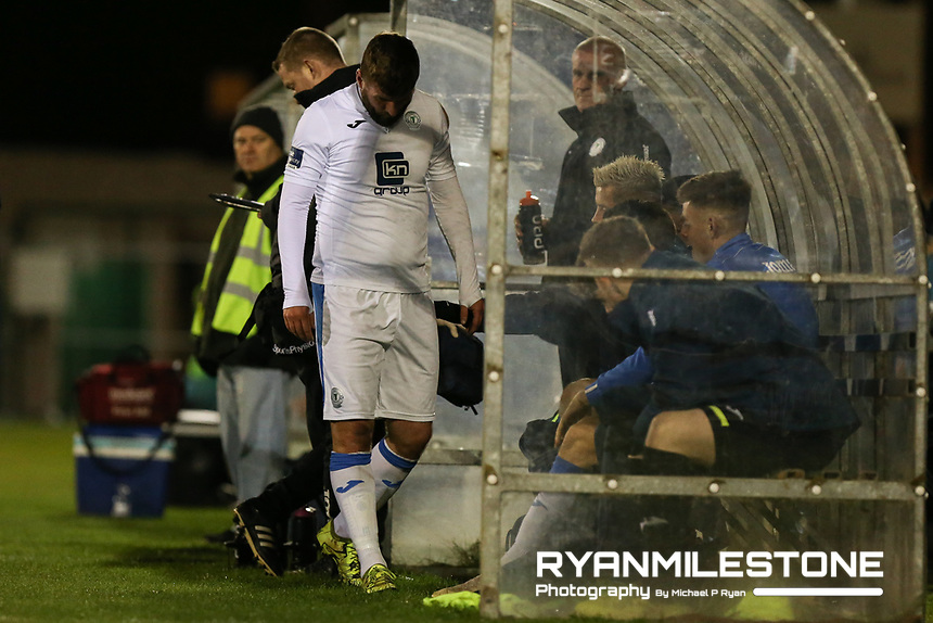 Paddy McCourt of Finn Harps after being substituted in the first half during the SSE Airtricity League Promotion / Relegation Play-off Final 2nd leg game between Limerick and Finn Harps on Friday 2nd November 2018 at Markets Field, Limerick. Mandatory Credit: Michael P Ryan.