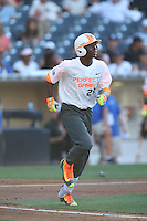 Grant Bodison (28) of the East team runs to first base during the 2015 Perfect Game All-American Classic at Petco Park on August 16, 2015 in San Diego, California. The East squad defeated the West, 3-1. (Larry Goren/Four Seam Images)