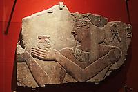Europe/France/Midi-Pyrénées/46/Lot/Figeac: Musée Champollion - Auguste figuré à l'égyptienne sur un fragment de vase à vin trouvé au temple de Kalabcha-Nubie