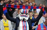 Pictured: A Crystal Palace supporter in Star Wars Stormtrooper costume and mask<br /> Re: Premier League match between Crystal Palace and Swansea City at Selhurst Park on Sunday 24 May 2015 in London, England, UK