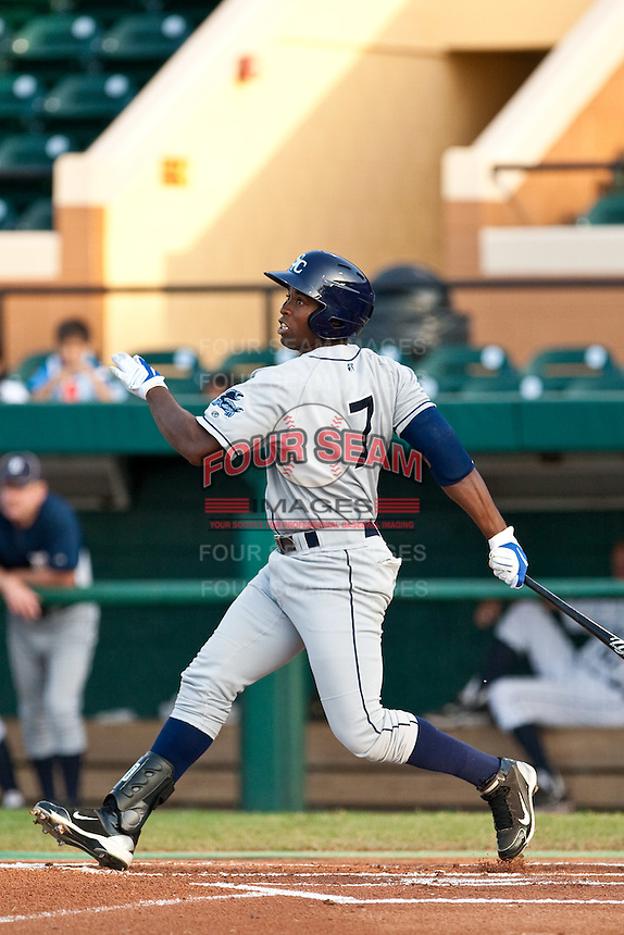 Leslie Anderson (7) of the Charlotte Stone Crabs during a game vs. the Lakeland Flying Tigers May 11 2010 at Joker Marchant Stadium in Lakeland, Florida. Charlotte won the game against Lakeland by the score of 3-0.  Photo By Scott Jontes/Four Seam Images