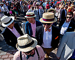 LOUISVILLE, KY - APRIL 28: Fans wearing dapper hats wait to enter the track on Opening Night at Churchill Downs on April 28, 2018 in Louisville, Kentucky.