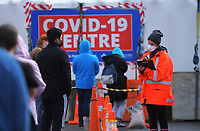 Queues for the Taranaki St COVID testing station during Level 4 lockdown for the COVID-19 pandemic in Wellington, New Zealand on Friday, 20 August 2021.