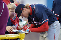 Salem Red Sox right fielder Trenton Kemp (13) signs autographs before the second game of a doubleheader against the Potomac Nationals on May 13, 2017 at G. Richard Pfitzner Stadium in Woodbridge, Virginia.  Potomac defeated Salem 3-2.  (Mike Janes/Four Seam Images)