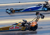 Jul 30, 2017; Sonoma, CA, USA; NHRA top fuel driver Leah Pritchett (near) against Terry Haddock during the Sonoma Nationals at Sonoma Raceway. Mandatory Credit: Mark J. Rebilas-USA TODAY Sports