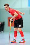 Mannheim, Germany, January 18: During the 1. Bundesliga Herren Hallensaison 2014/15 Sued hockey match between Mannheimer HC (blue) and TSV Mannheim (red) on January 18, 2015 at Irma-Roechling-Halle in Mannheim, Germany. Final score 4-6 (4-4). (Photo by Dirk Markgraf / www.265-images.com) *** Local caption *** Nicolas Proske #28 of TSV Mannheim