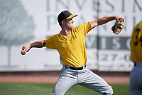 Bristol Pirates pitcher Will Kobos (38) warms up before a game against the Bluefield Blue Jays on July 26, 2018 at Bowen Field in Bluefield, Virginia.  Bristol defeated Bluefield 7-6.  (Mike Janes/Four Seam Images)