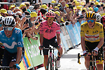 The main GC group including Enric Mas Nicolau (ESP) Movistar Team, Yellow Jersey Tadej Pogacar (SLO) UAE Team Emirates and Rigoberto Uran (COL) EF Education-Nippo cross the finish line at the end of Stage 15 of the 2021 Tour de France, running 191.3km from Céret to Andorre-La-Vieille, Andorra. 11th July 2021.  <br /> Picture: Colin Flockton | Cyclefile<br /> <br /> All photos usage must carry mandatory copyright credit (© Cyclefile | Colin Flockton)