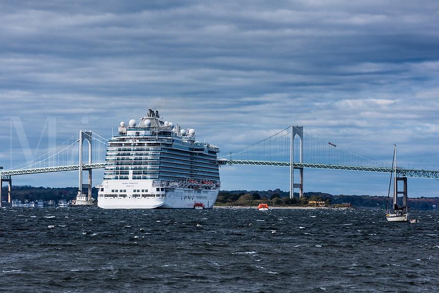 Cruise ship anchored in Newport harbor, Rhode Island, USA.