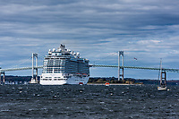Cruise ship anchored in Newport harbor, Rhode Island, USA.