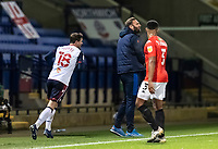 Bolton Wanderers' head coach Ian Evatt (centre) shows his frustration<br /> <br /> Photographer Andrew Kearns/CameraSport<br /> <br /> The EFL Sky Bet League Two - Bolton Wanderers v Salford City - Friday 13th November 2020 - University of Bolton Stadium - Bolton<br /> <br /> World Copyright © 2020 CameraSport. All rights reserved. 43 Linden Ave. Countesthorpe. Leicester. England. LE8 5PG - Tel: +44 (0) 116 277 4147 - admin@camerasport.com - www.camerasport.com