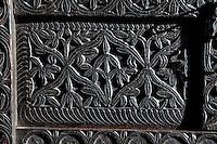 Zanzibar, Tanzania.  Front of Carved Wooden Zanzibari Chest.