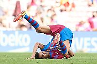 29th August 2021; Nou Camp, Barcelona, Spain; La Liga football league, FC Barcelona versus Getafe; Sergio Busquets of FC Barcelona takes a tumble from contact