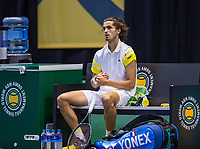 Rotterdam, The Netherlands, 27 Februari 2021, ABNAMRO World Tennis Tournament, Ahoy, Qualyfying match: Pierre-Hugues Herbert (FRA)<br /> Photo: www.tennisimages.com/henkkoster