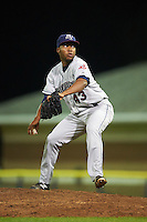 Mahoning Valley Scrappers relief pitcher Henry Martinez (43) during a game against the Batavia Muckdogs on August 18, 2016 at Dwyer Stadium in Batavia, New York.  Batavia defeated Mahoning Valley 2-1.  (Mike Janes/Four Seam Images)