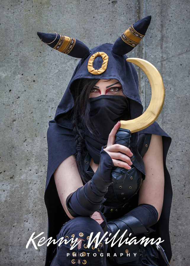 Black Masked Female Assassin, Sakura Con 2017, Seattle, Washington, USA.