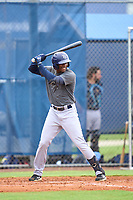 Tampa Bay Rays Aldenis Sanchez bats during an Extended Spring Training intrasquad game on June 15, 2021 at Charlotte Sports Park in Port Charlotte, Florida.  (Mike Janes/Four Seam Images)