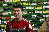 Wednesday 28 August 2013<br /> Pictured: Michael Laudrup during a press conference at Petrolul Ploiesti Stadium. <br /> Re: Swansea City FC arrive to Romania for a press conference and training session, a day before their UEFA Europa League, play off round, 2nd leg, against Petrolul Ploiesti in Romania.