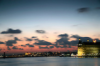 Istanbul skyline: Haydarpasa train station with Hagia Sophia and the Blue Mosque in the background, Istanbul, Turkey
