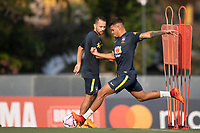7th October 2020; Granja Comary, Teresopolis, Rio de Janeiro, Brazil; Qatar 2022 qualifiers; Bruno Guimaraes and Everton Ribeiro of Brazil during training session